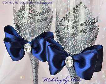 Navy Wedding Glasses, Wedding Champagne Flutes, Bride And Groom, Personalized Toasting Flutes, Purple Wedding, Wedding gift