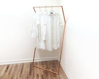 K Rack • Wall Leaning, Clothing / Garment Rack • Copper and Wood