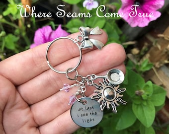 Tangled Quote Keychain (At Last I See The Light)