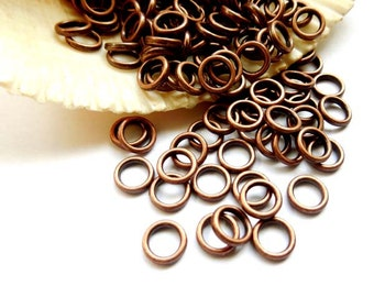50/100 Antique Copper Jump Rings 6mm, Closed Loop - 10-AC-6CL