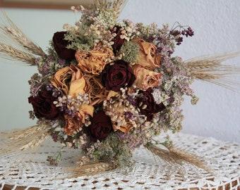 Dried flower bouquet, dried roses, wild flowers, wedding bouquet, farmghouse decoration , cottage decoration