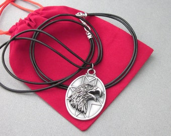 Bald Eagle Head Medallion Pendant, American Eagle, Large Oval, Dimensional, Leather Cord,  Men's Pendant, Veteran Military Gift, Patriotic