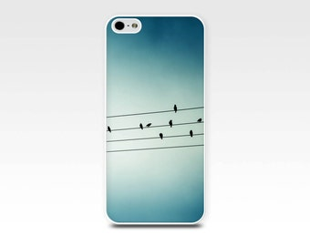 iphone 5s case birds iphone case birds on wire iphone 6 case 4s iphone 4 5 case nature iphone case photography art iphone case blue teal
