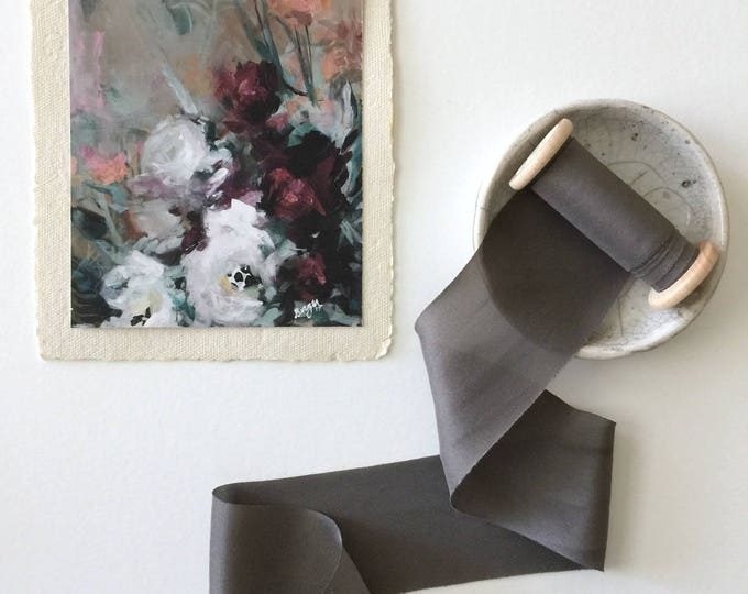 CHARCOAL GRAY Plant Dyed Silk Ribbon