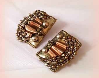 80s Copper & Sterling Clip Earrings - Southwestern Jewelry - ECHOEN MEXICO