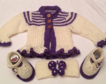 Baby Knitting patterns Butterfly Dreams, Cardi, Shoes and Hairband 0-3mths