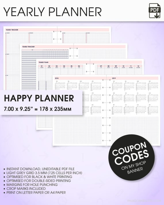 Yearly Planner Printable   Happy Planner Inserts