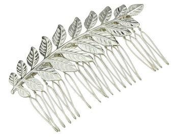 Silver Leaf Hair Comb. Bridal Hair Comb, Leaf Headpiece, Wedding Hair Accessory, Woodland Hair Accessory, Silver Leaf Hair Comb