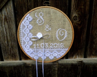 Ring Bearer Hoop, Burlap and Lace Ring Bearer, Hand Embroidered, Personailzed Wedding, Rustic Wedding, Hoop Art, Hoop Embroidery