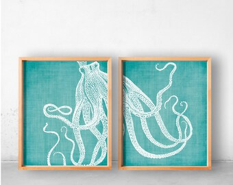 Coastal Wall Art Decor, Octopus Prints, Coastal Wall Decor, Beach Decor,  Nautical Decor, Beach Home Decor, Teal And White Print