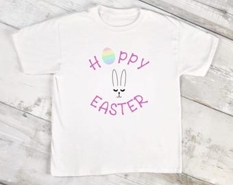 Hoppy Easter/Bunny Face/Youth Shirt/Happy Easter/Easter Egg/Easter Egg Hunt/Easter Gift/Bunny Gift/Easter Clothes/Bunny Ears/Easter Outfit
