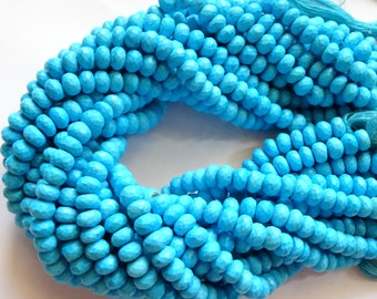 Full Length 13 Inches Strand Turquoise Faceted Rondelles, Turquoise Rondelle Beads (7 to 8 mm)