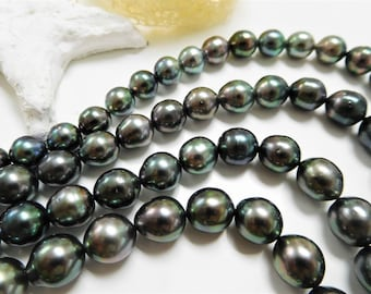 8x10mm Dark Circle Near-Round/Oval Tahitian Necklace Strand