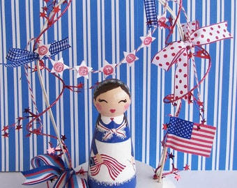 Hand Painted Love Boxes Betsy Ross Peg Doll Wood Stand Bunting