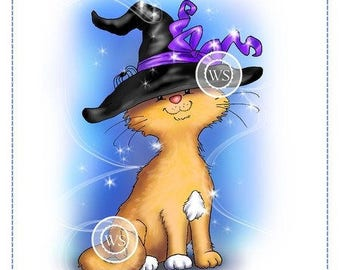 Whimsy Stamps -- Cat Witch -- NEW -- (#2215)