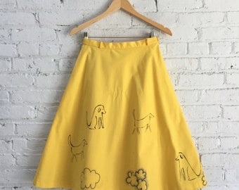 vintage 60s hand illustrated skirt / yellow a line skirt / year of the dog skirt