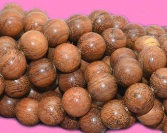 10 pearls precious bayong wood round 12mm Brown