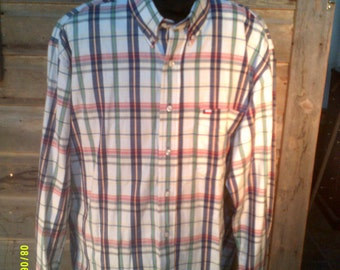 Men's Vintage Cotton Plaid Shirt, size M/L, Made in USA by Texas Cotton, Mens Button Down, Mens Summer Shirt, Mens Long Sleeve L