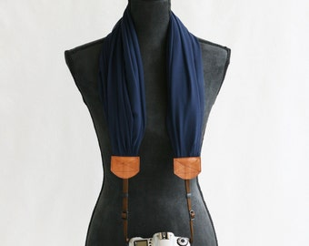 scarf camera strap navy chiffon - BCSCS030
