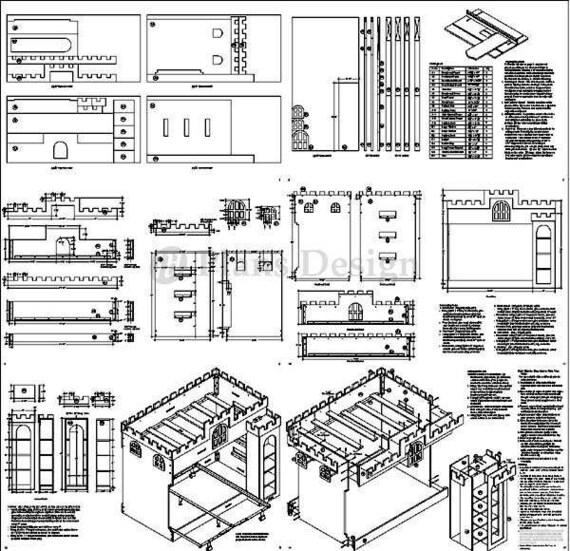 Kinder Kasteel Huis Stapelbed / Loft Twin Bed Houtbewerking Plannen  (instructies) Detailtekeningen En Stap Voor Stap Instructies Opgenomen