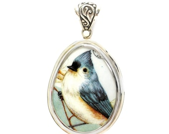 Broken China Jewelry Tufted Titmouse Bird Large Sterling Drop Pendant