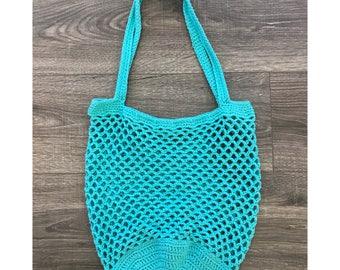 Cotton Crochet Market Bag, Crochet Beach Bag, Tote Bag, Crochet Tote Bag, Mesh Market Bag, Mesh Beach Bag, Summer Beach Bag, Farmers Market