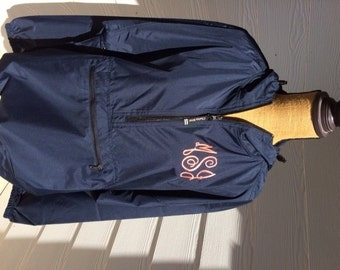 Monogrammed Rain Jacket-Pullover-Charles River-Monogram Jacket-Monogram 1/4 zip-Monogram quarter zip jacket-Navy-Plus Size Rain Jacket