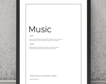 Music definition print Music typography print Music print Music poster Typography print Quote print Quote poster Music wall art, Music