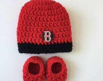 Boston Red Sox baby hat and booties, Red Sox baby gift, Crocheted hat and booties, Baby Shower Gift, Handmade baby hat and booties