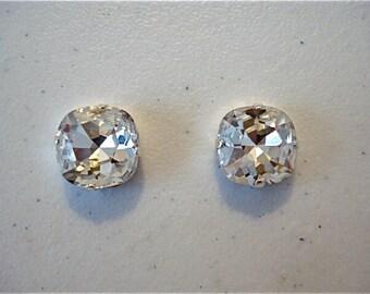 Swarovski Crystal Clear Cushion Stud Earrings, bridal earrings, wedding earrings, bridesmaid earrings, clear crystal earrings, stud earrings