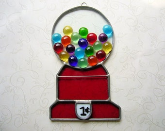 Vintage Stained Glass Sun Catcher Gumball Machine