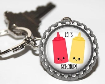 ON SALE - Charm, Keychain, Foodie Gift, Perfect Pair, Punny Gifts, Birthday Gift, We Belong Together, Kawaii, Best Friend Gift, Ketchup