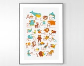FRENCH Alphabet Poster with animals from A to Z, BIG POSTER 13x19 inches