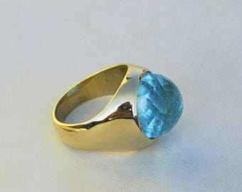 Rose Cut Blue Topaz Gemstone Ring- Round Cut Topaz Bezel Ring- 18K Yellow Gold Over Sterling Silver Ring- Emerged Birthstone Gift Ring