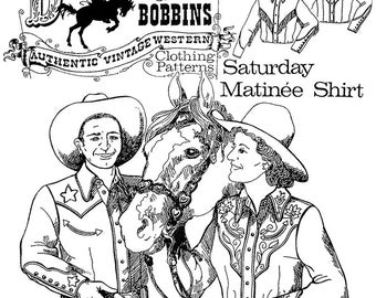 Saturday Matinee Cowboy Cowgirl Western Shirt - Buckaroo Bobbins Sewing Pattern Men & Women size XS-6X
