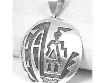 Native American, Navajo Sterling Silver Kachina Pendant, Hopi inspired