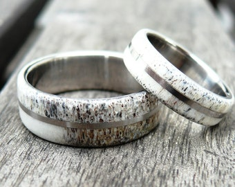 Titanium and Deer Antler Wedding Band Set, Two Wedding Ring, Titanium Ring, Bone Ring, with Engraving, love gift