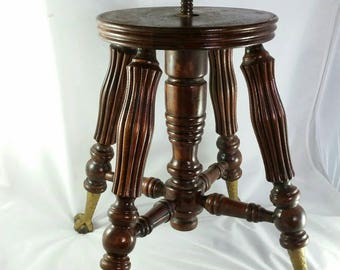 Antique Piano Stool Chair Eagle Claw Glass Ball Feet Solid