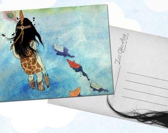 Illustrated postcard / origami / paper boat / water / safari / giraffe print / feather / illustration