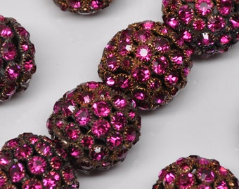 20 X 22 mm Vintage Rhinestones Bead Balls Large Gold Toned Fuchsia Huge 2 or 4 Pieces