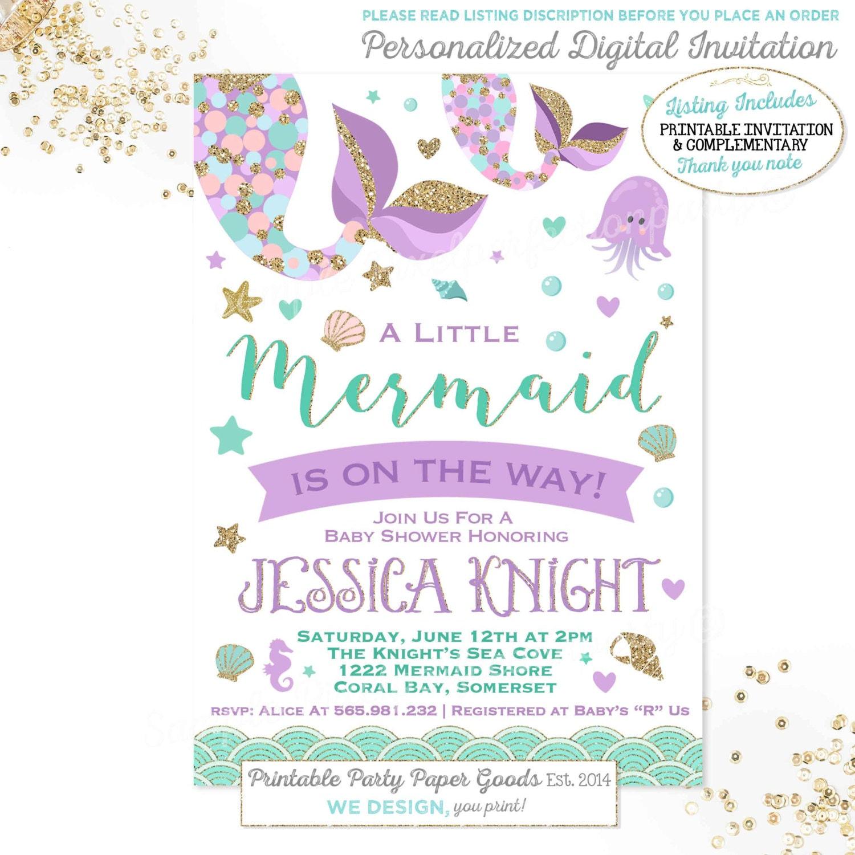 Mermaid Baby Shower Invitation Little Mermaid Baby Shower