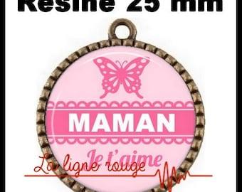 Bronze round Cabochon 25 mm epoxy resin pendant - Mama ICH Liebe Dich (3161)