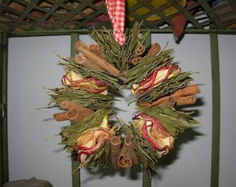 primitive farmhouse fresh-dried aromatic apple, bay,cinnamon stick wreath