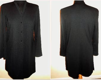 Vintage Cardigan Jersey SMALL size Black Stretchy Knit Jacket Button Up Long Sleeve Casual Vintage Clothing Women's Tops Blouse Shirt