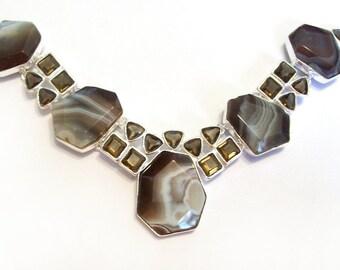 Agate and Smoky Quartz Silver Necklace