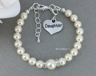 Daughter Charm Bracelet Swarovski Pearl Bracelet Swarovski Bracelet Gift for Daughter Pearl Jewelry Available in White or Cream