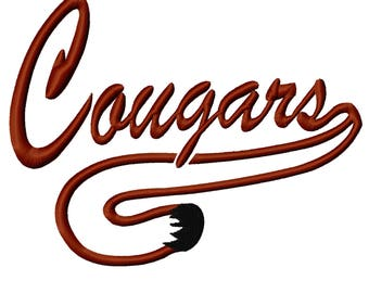 Cougars word and tail Satin Embroidery Designs Includes 5 sizes INSTANT DOWNLOAD