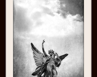 Angel Wall Art, London Print, Black and White London Photography, Buckingham Palace, Angel Print, London Art