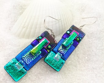 Fused glass jewelry, dichroic earrings, glass earrings, fused glass art, creative earrings, artisan jewelry, blue earrings, dichroic glass