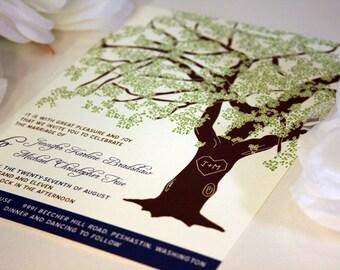 SAMPLE Oak Tree Rustic Wedding Invitation, Printed Set or Wedding Invitation Template, Printable Invitation Suite, Rustic Wedding Invitation